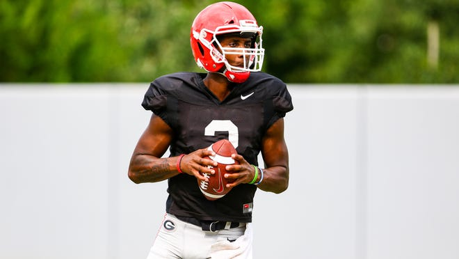 Georgia quarterback D'Wan Mathis (2) during the Bulldogs' practice session in Athens, Ga., on Wednesday, Sept. 9, 2020.
