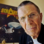 "In this May 14, 2013, file photo, Leonard Nimoy arrives at the LA premiere of ""Star Trek Into Darkness"" at The Dolby Theater in Los Angeles. Nimoy, famous for playing officer Mr. Spock in ""Star Trek"" died Friday, Feb. 27, 2015 in Los Angeles of end-stage chronic obstructive pulmonary disease. He was 83. (Photo by Jordan Strauss/Invision/AP, File)"