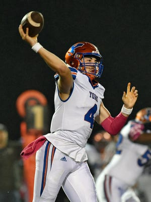 York High quarterback Micah Anciso throws a pass in the first half of a YAIAA football game Friday, Oct. 13, 2017, at Northeastern. York High defeated Northeastern 55-6.