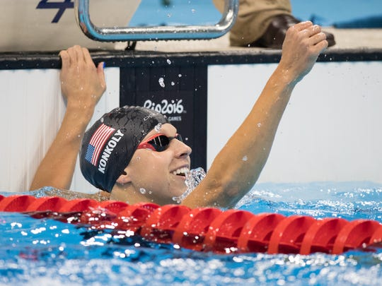 Michelle Konkoly USA celebrates winning the Women's 50m Freestyle - S9 Swimming Final at the Paralympics in Rio de Janeiro on Tuesday