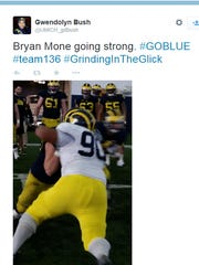 Graham Glasgow (#61) back at practice in this Bryan Mone photo on Twitter.