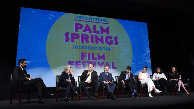 "Artistic director of the Palm Springs International Film Festival Michael Lerman, Meryl Streep, Tom Hanks, Steven Spielberg, Josh Singer, Liz Hannah, Amy Pascal and Kristie Macosko Krieger at the PSIFFR opening night screening of ""The Post""."