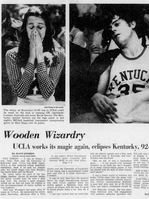 The April 1, 1975 edition of The Courier-Journal recapped UK's national championship game loss to UCLA in John Wooden's final game before retiring.