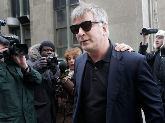 Actor Alec Baldwin leaves criminal court in New York earlier this month.