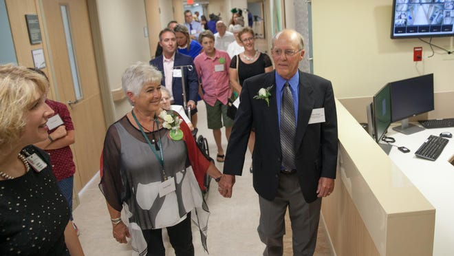 Rosemarie and Glen Wright tour the new UVM Medical Center maternity ward bearing their names, Tuesday in Burlington.