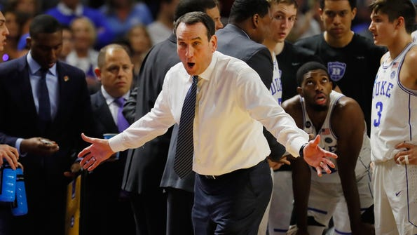 GREENVILLE, SC - MARCH 19:  Head coach Mike Krzyzewski of the Duke Blue Devils reacts in the second half against the South Carolina Gamecocks during the second round of the 2017 NCAA Men's Basketball Tournament at Bon Secours Wellness Arena on March 19, 2017 in Greenville, South Carolina.  (Photo by Kevin C. Cox/Getty Images) ORG XMIT: 686516041 ORIG FILE ID: 655411528