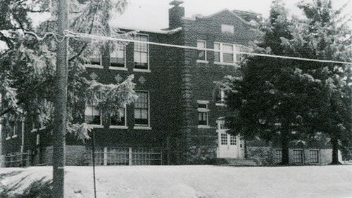 """Carole Haller of Spring Garden Township shared this photo of the front of the former Mount Rose Elementary School. She said she took photos when her daughter, Susan, began her school days there. """"Mount Rose Elementary School consisted of two buildings,"""" she wrote. """"The lower grades were housed in the older building facing Mount Rose Avenue and the upper grades, through sixth grade, were in the former high school building that faced Ogontz Street and was located across a playground, in back of the older building. When the older building was demolished in the summer of 1978, all of the students were combined in the remaining building on Ogontz Street. After the 1982 school year, Mount Rose School was closed and students transferred to other schools in the York Suburban School District. The remaining building, still standing, was bought and is being used by a church."""""""