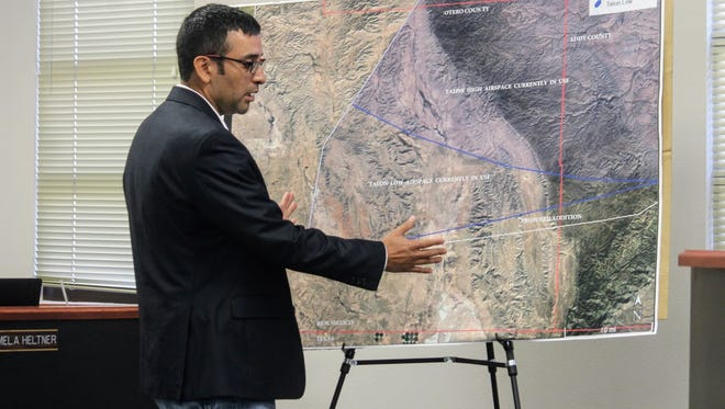 Holloman Air Force Base Space Manager Juan Lavarreda Perez shows county commissioners the proposed new and expanded flight paths in Otero County from the U.S. Air Force at the Oct. 12 regular county commission meeting.