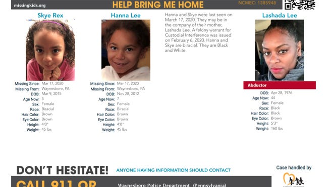This poster from the National Center for Missing and Exploited Children shows Skye Rex, Hanna Lee and Lashada Lee. Skye and Hanna were last known to be in the Waynesboro area in March. Authorities believe the girls may be with Lashada Lee. PROVIDED IMAGE