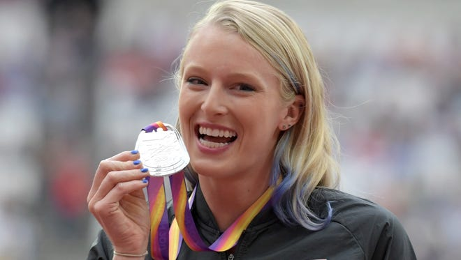 Sandi Morris poses with her silver medal during the women's pole vault medal ceremony at the IAAF World Championships in Athletics at London Stadium at Queen Elizabeth Park on  Aug. 7, 2017.