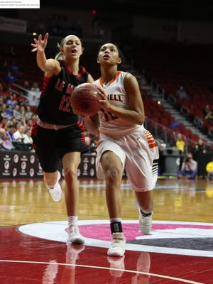Grinnell's Naomi Jackson, 10, drives for the basket during the Tigers' 68-47 win over Lemars in the Class 4A semifinals at Wells Fargo Arena on Thursday, March 1, at Des Moines. Grinnell advances into the Class 4A finals at 8 p.m. on Saturday.