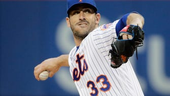 New York Mets' Matt Harvey delivers a pitch during the first inning of a baseball game against the San Diego Padres Tuesday, May 23, 2017, in New York. (AP Photo/Frank Franklin II)