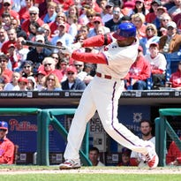 Phillies starter Jerome Williams throws in the third inning Sunday against the Atlanta Braves at Citizens Bank Park. He allowed 8 hits and 3 runs with 2 walks and 2 strikeouts in a 5-4 win.