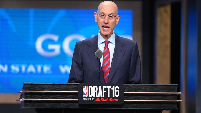 NBA commissioner Adam Silver speaks at the conclusion of the first round of the 2016 NBA Draft at Barclays Center.