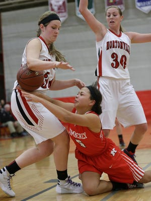 Hortonville's Gabby McKeever (left) and Morgan Allen (right) defend against Kimberly's Alina Hampton on Tuesday in Hortonville.
