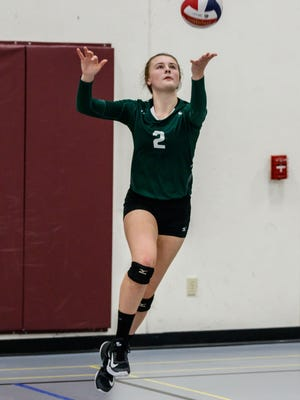 West Allis Nathan Hale sophomore Serina Pehowski (2) serves during the 2017 Indian Invite volleyball tournament at Menomonee Falls High school on Saturday, Sept. 30.