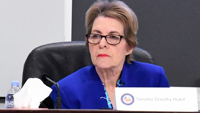 Florida Sen. Dorothy Hukill asks a question during the annual meeting of the Brevard Legislative Delegation last week in Viera.