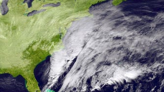 UNITED STATES - JANUARY 26: In this handout provided by the National Oceanic and Atmospheric Administration (NOAA) from the GOES-East satellite, a major winter storm develops over the mid-Atlantic region and is bringing snow to the Northeast of the U.S. pictured at 16:45 UTC on January 26, 2015.  Blizzard Warnings are in effect for the coastal areas from New Jersey to Maine.  The storm will move along the northeast coastline from Monday night into Tuesday bringing a significant amount of snow and blustery winds across the northeast and New England causing blizzard conditions. Snow totals of 1 to 3 feet will occur from the New York City area into southern and eastern New England.  (Photo by NOAA/NASA GOES Project via Getty Images) ORG XMIT: 534360203 ORIG FILE ID: 462283308