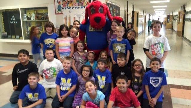 Students in Aimee Zumbrun's  third grade class met Clifford the Big Red Dog at school.