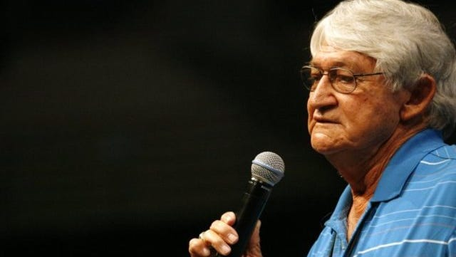 Longtime Hardin-Simmons University head football coach Jimmie Keeling addresses the audience at the 2011 Angelo Football Clinic. Keeling spent more than 50 years as a head coach at the high school and collegiate levels, including 10 seasons at Central.