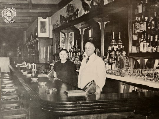Historical photo of Julius and Anna Honig at The Green Room, photographed at the Suffern Village Museum, March 21, 2016. The Hotel Lafayette, which housed The Green Room, was a banquet hall that hosted weddings and is being demolished for high-end apartment rentals.