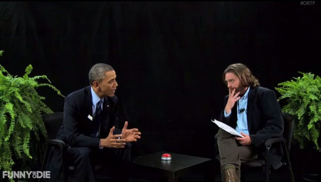 President Obama joined the host comedian Zack Galifianakis in Funny or Die's faux-cable access interview show (and Emmy-nominated Web series) 'Between Two Ferns.'