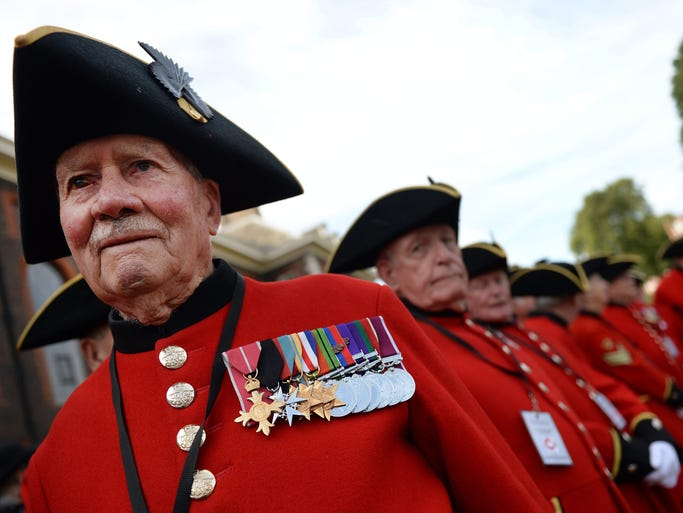 Chelsea Pensioners, the term for British veterans, attend the Great War Centenary Parade in London on Aug. 4 -- 100 years to the day that Great Britain entered World War 1.