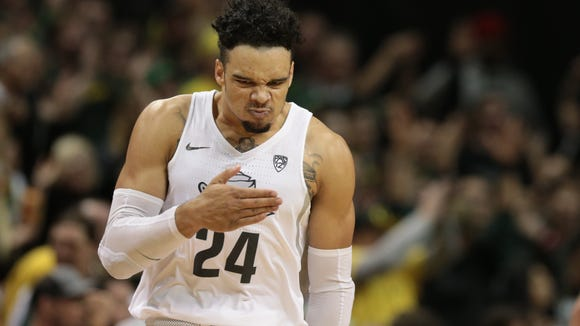 Dec 28, 2016; Eugene, OR, USA; Oregon Ducks forward Dillon Brooks (24) beats his chest following a three point shot against the UCLA Bruins at Matthew Knight Arena. Mandatory Credit: Scott Olmos-USA TODAY Sports