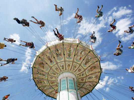The sky's the limit at the Maryland State Fair. Fair rides, like this one in 2010, are one of the biggest draws, but the fair also has thoroughbred horse racing and a horse festival on tap, among many other things.