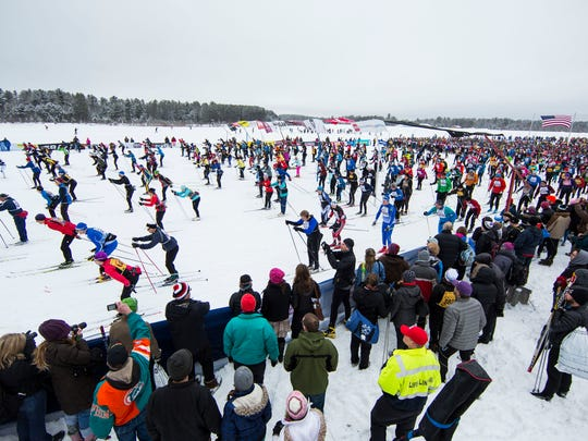Classic-style skiers start the 40th American Birkebeiner cross-country ski race from Cable to Hayward.