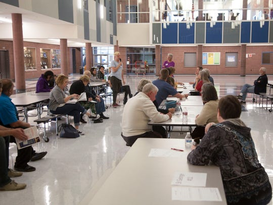 Democrats hold a caucus meeting at Dixie Middle School