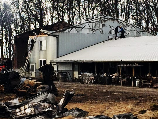 An early morning fire destroyed Sunnyburn Welding at 32 W. Telegraph Road in Lower Chanceford Township, Tuesday, Jan. 31, 2017. Chris Dornblaser photo