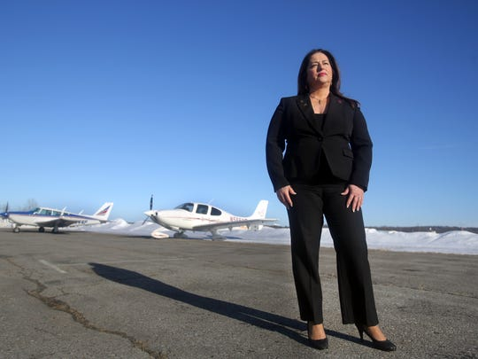 Susan Sullivan-Bisceglia photographed at the Dutchess County Airport Feb. 17, 2017. Along with being a licensed pilot for over thirty years, Sullivan-Bisceglia is an aviation attorney as well as a Wappingers Falls Village justice.