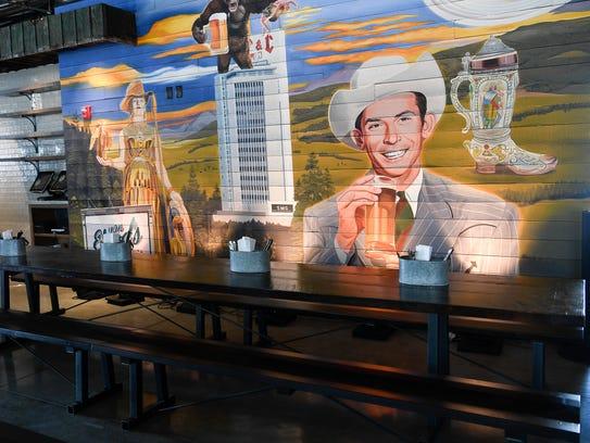 The mural inside Von Elrod's Beer Garden & Sausage House in Nashville.