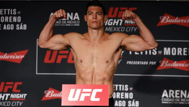 Alan Jouban, a native of Lafayette, is shown at a weigh-in prior to UFC Fight Night in Mexico City in August.