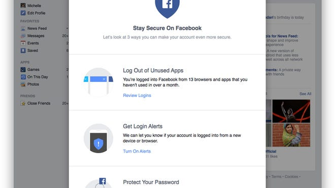 This frame grab shows a page that guides a user through a Facebook account security checkup.