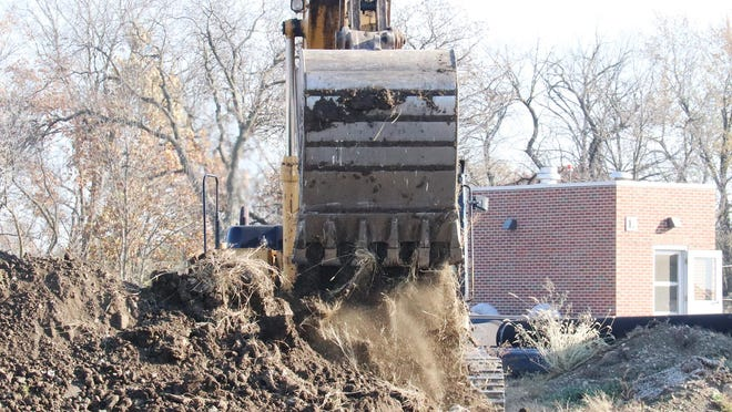 Dirt is moved at the water treatment plant in Pontiac as work continues on upgrading the facility, which is a multi-million dollar project.