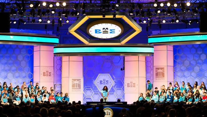 Spellers compete for the judges during round three of the preliminaries at the Scripps National Spelling Bee in National Harbor, Maryland. More than 280 spellers from eight countries will compete this year for the title of champion at the 88th annual Scripps National Spelling Bee.