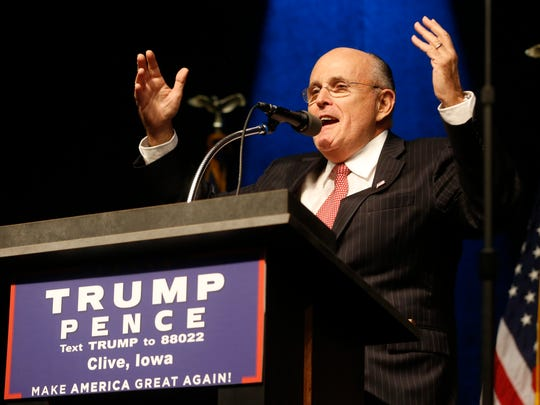 Former New York city mayor Rudolph Giuliani Republican introduces Republican presidential candidate Donald Trump  Tuesday, Sept. 13, 2016 at a rally at the 7 Flags Events Center in Clive, Iowa.