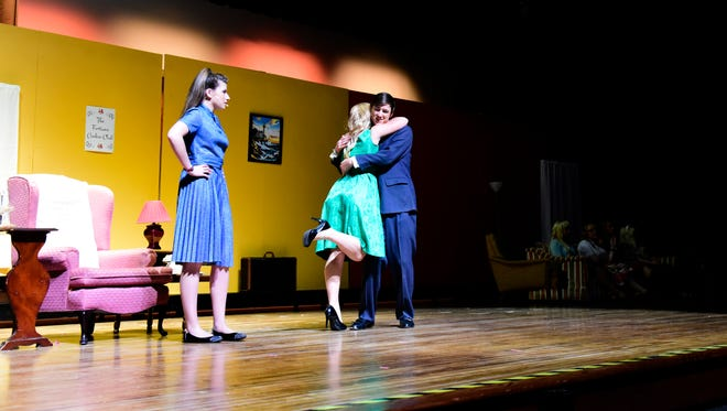 Kate Bowers as Agent 99, from left, McKenzie Pluto as Princess Ingrid and Devin Feuhrer as Maxwell Smart rehearse for Port Clinton High School's fall play, 'Get Smart,' which opens this Saturday.