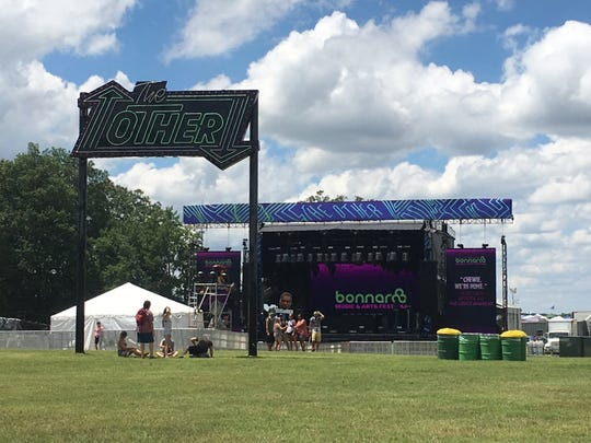 The Bonnaroo crew was still setting up 'The Other' stage after festival grounds opened up on Thursday.