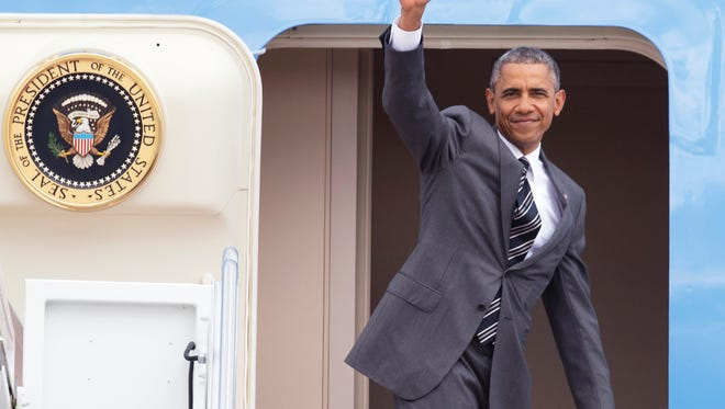 President Barack Obama waves as he boards Air Force One at Andrews Air Force Base, Md., Thursday, May 7, 2015, before traveling to Portland. On Friday, the president will visit Nike headquarter in Beaverton, Ore., to make his trade policy pitch as he struggles to win over Democrats for what could be the last major legislative push of his presidency. But in choosing the giant sneaker and athletic wear company as his backdrop, Obama has stirred a hornet's nest.