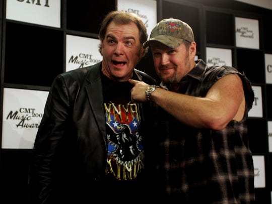 Bill Engvall, left, and Larry the Cable Guy backstage