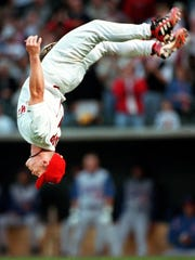 Stubby Clapp opens the Redbirds' 2000 season with a back flip.