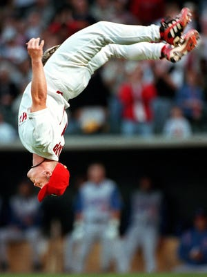 Stubby Clapp opens the Redbirds' 2000 season with a back flip.