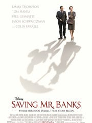 "In ""Saving Mr. Banks,"" Walt Disney, played by Tom Hanks, strives to obtain movie rights from Mary Poppins author P.L. Travers, played by Emma Thompson."