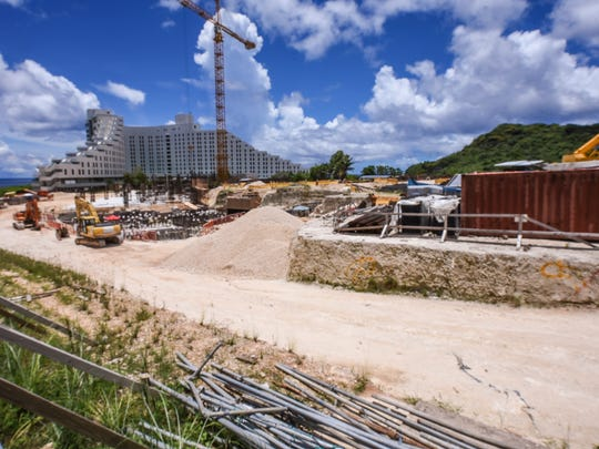 An overview look of the construction site of the Tsubaki Tower, as seen in Tumon, on Wednesday, Aug. 23, 2017. The hotel project, started in March 2016 by Tokyo real estate giant Ken Corp., is slated to reach a height of 26 stories and cost an estimated $150 million to build, according to Pacific Daily News files. Subcontractor 5M Construction said manpower issues have delayed work on the project.