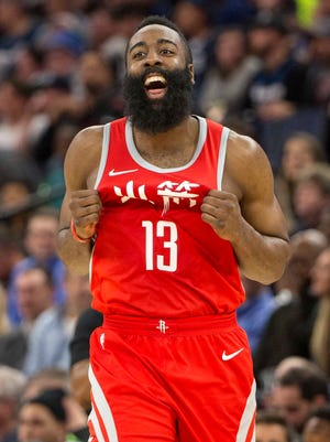 James Harden scored a team-high 34 points for the Rockets.