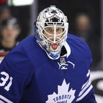 Maple Leafs goalie Garret Sparks looks on in his NHL