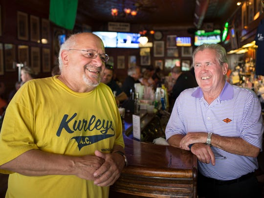 Pat Springstead, right, co-owner of Nemo's Bar for 53 years and his friend, Ris Massetti, 69, of Windsor and owner of Kurley's A.C., at Nemo's Bar in Detroit on Tuesday, June 12, 2018.